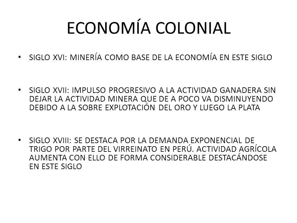 ECONOMÍA COLONIAL SIGLO XVI: MINERÍA COMO BASE DE LA ECONOMÍA EN ESTE SIGLO.