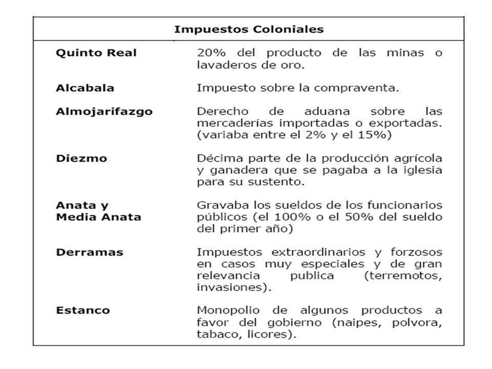 IMPUESTOS COLONIALES