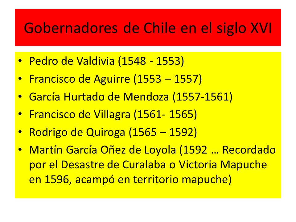 Gobernadores de Chile en el siglo XVI