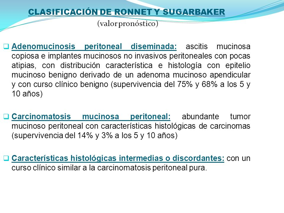 CLASIFICACIÓN DE RONNET Y SUGARBAKER