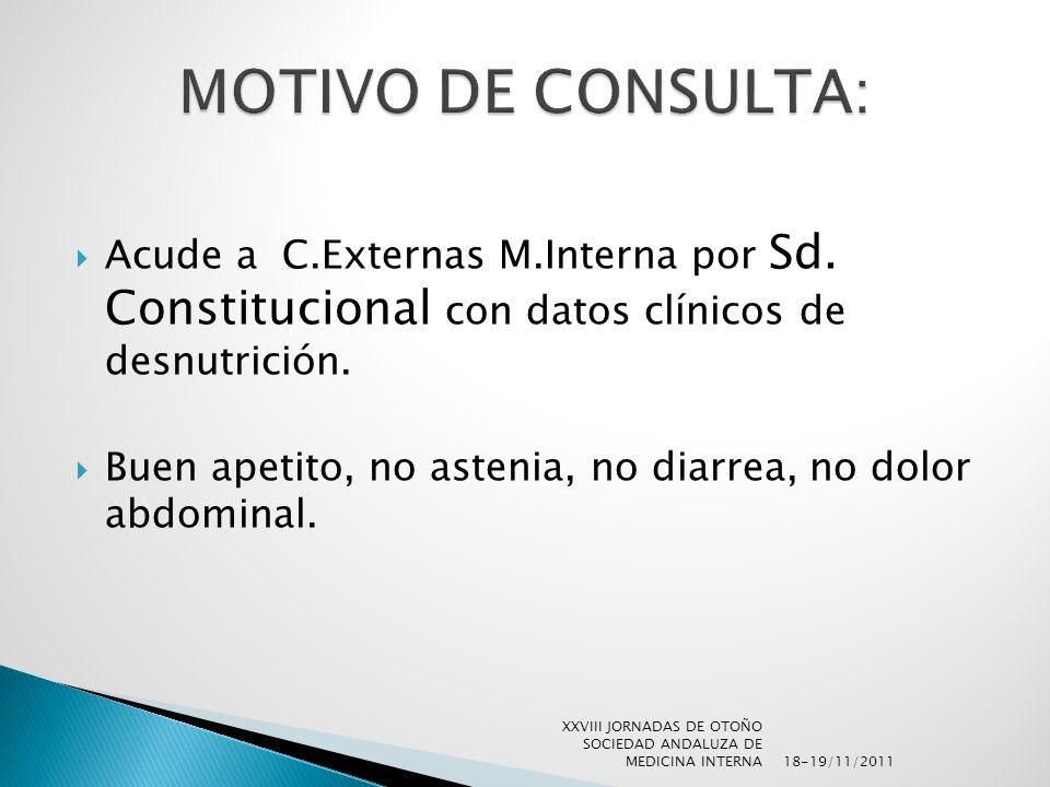 MOTIVO DE CONSULTA: Acude a C.Externas M.Interna por Sd. Constitucional con datos clínicos de desnutrición.