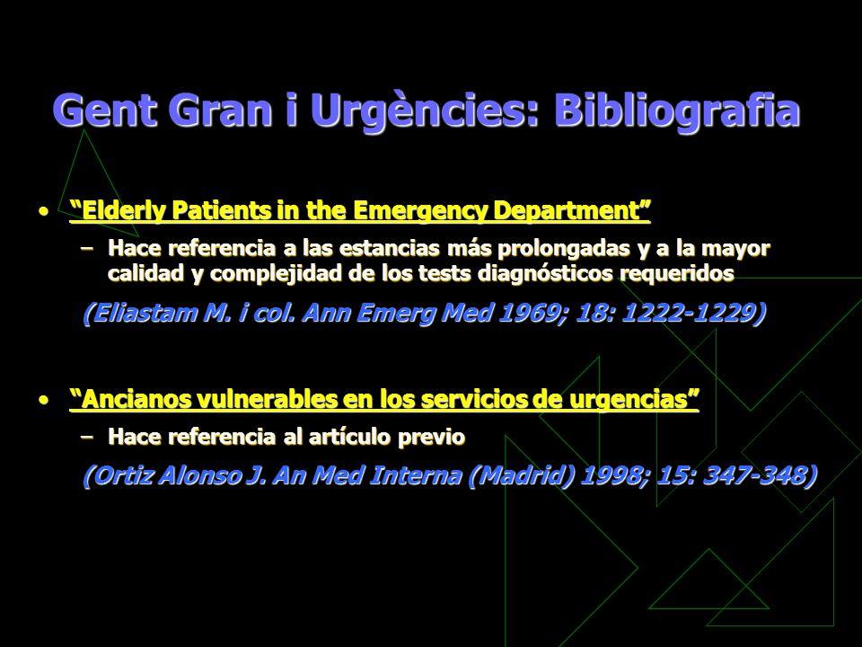 Gent Gran i Urgències: Bibliografia