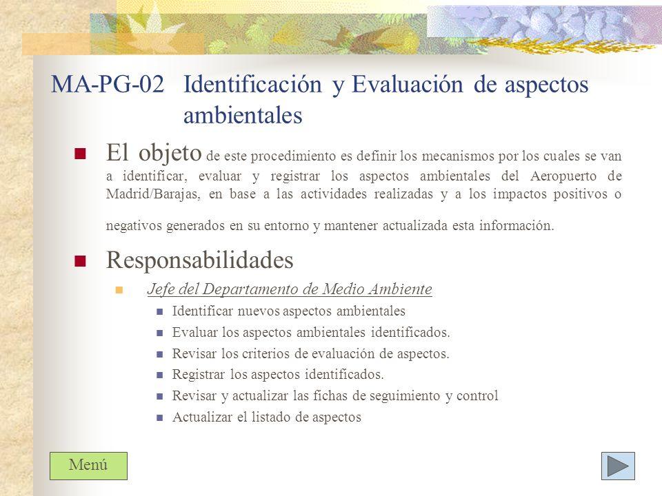 MA-PG-02 Identificación y Evaluación de aspectos ambientales