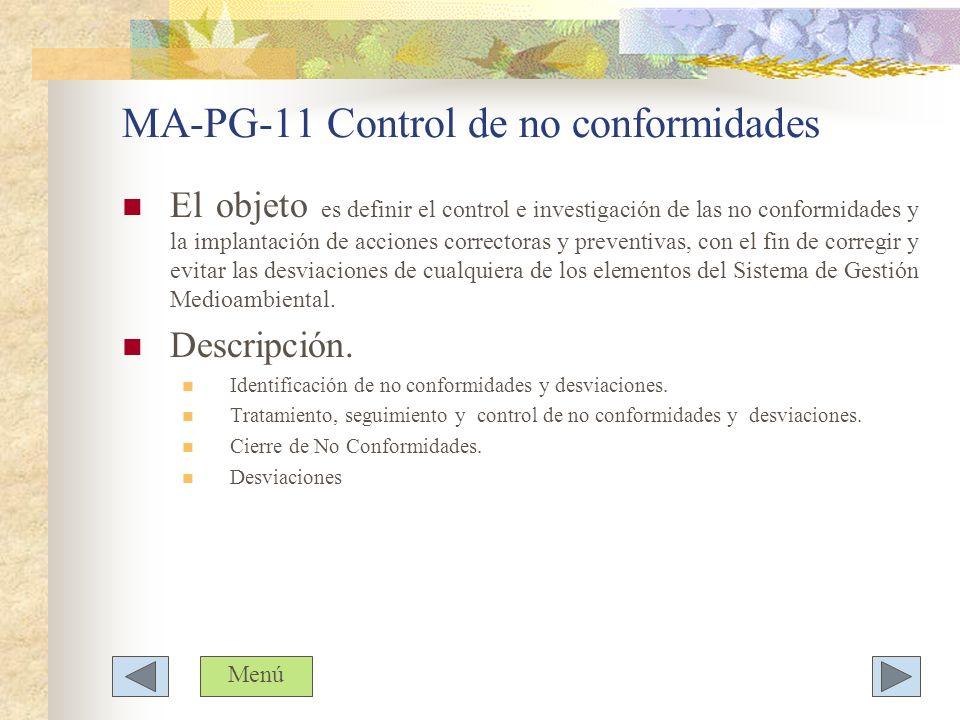 MA-PG-11 Control de no conformidades