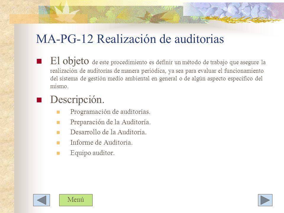 MA-PG-12 Realización de auditorias