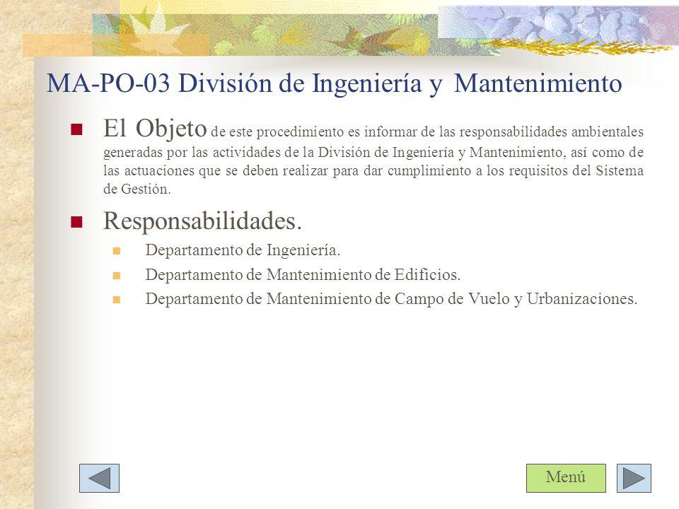 MA-PO-03 División de Ingeniería y Mantenimiento