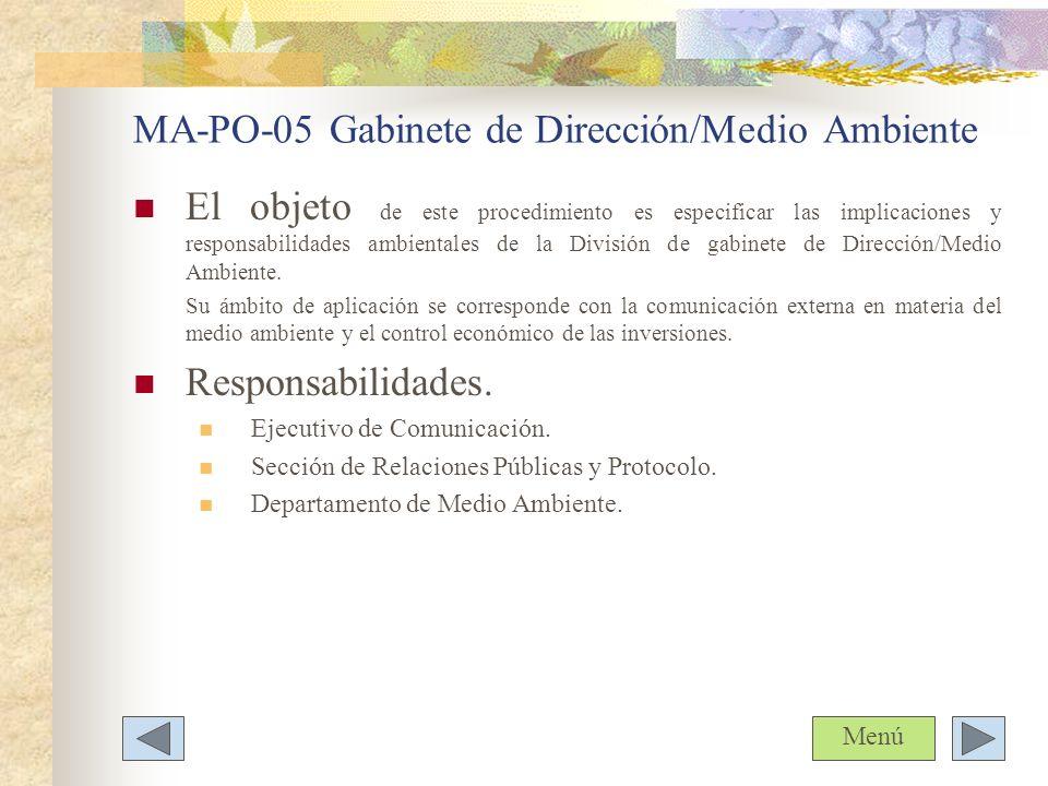 MA-PO-05 Gabinete de Dirección/Medio Ambiente