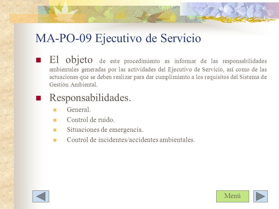 MA-PO-09 Ejecutivo de Servicio