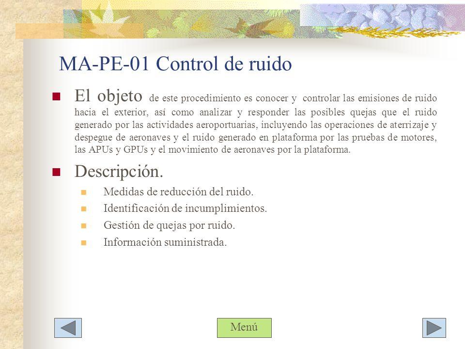 MA-PE-01 Control de ruido