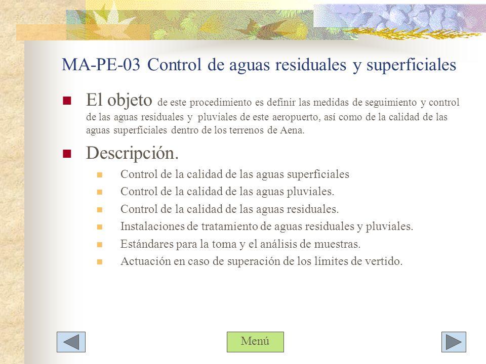 MA-PE-03 Control de aguas residuales y superficiales