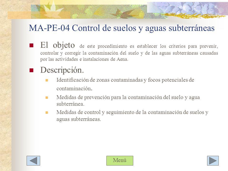 MA-PE-04 Control de suelos y aguas subterráneas