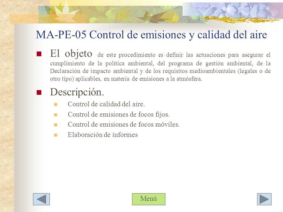 MA-PE-05 Control de emisiones y calidad del aire