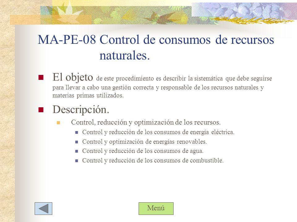 MA-PE-08 Control de consumos de recursos naturales.