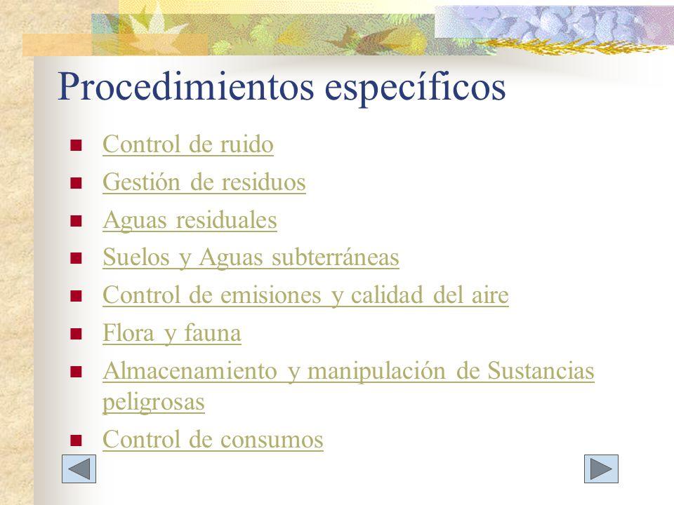 Procedimientos específicos
