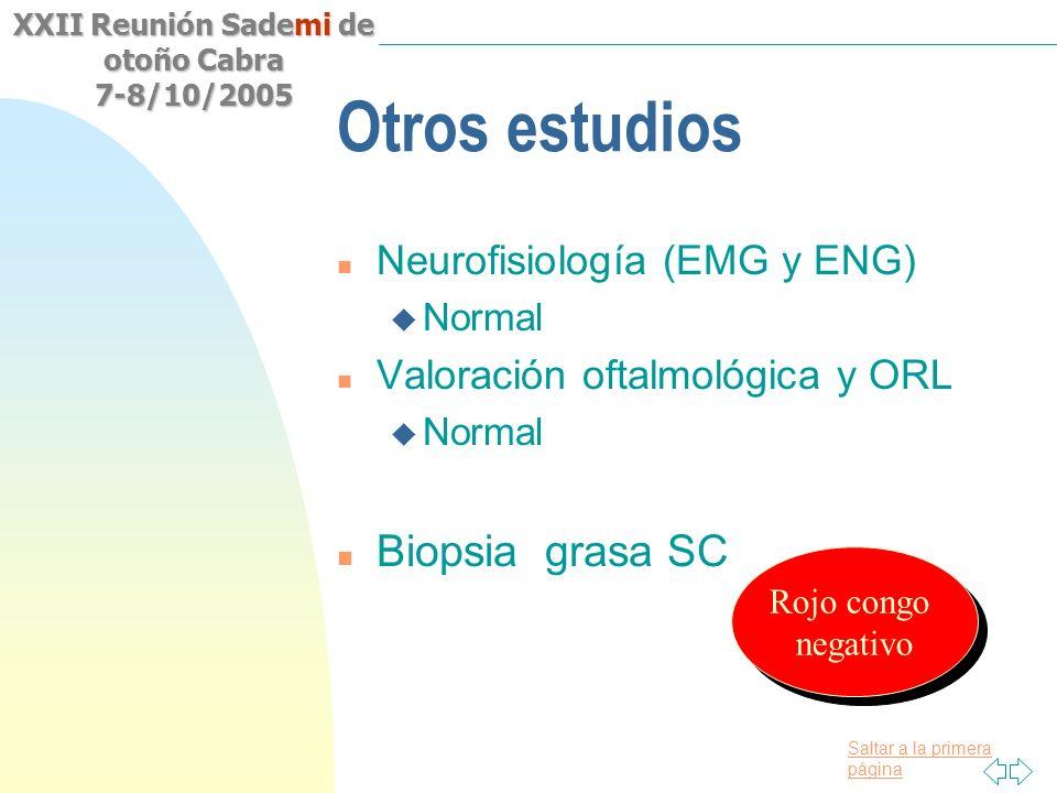 Otros estudios Biopsia grasa SC Neurofisiología (EMG y ENG)