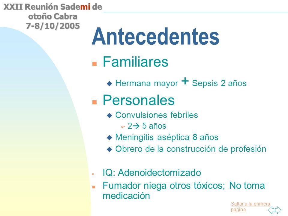 Antecedentes Familiares Personales IQ: Adenoidectomizado