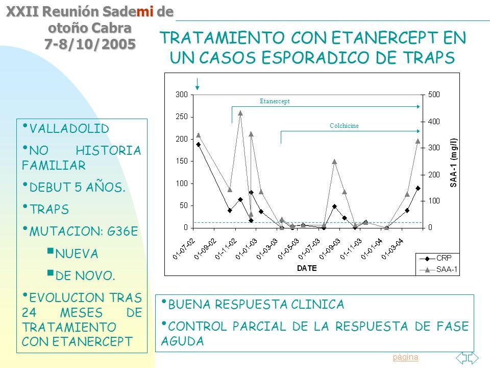 TRATAMIENTO CON ETANERCEPT EN UN CASOS ESPORADICO DE TRAPS