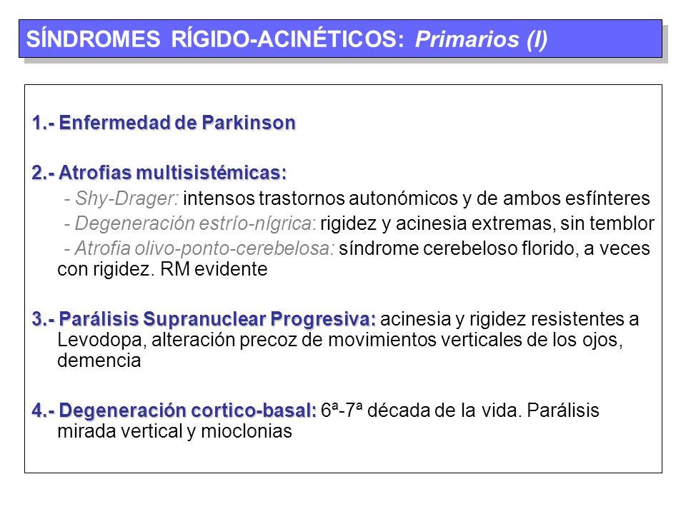 SÍNDROMES RÍGIDO-ACINÉTICOS: Primarios (I)