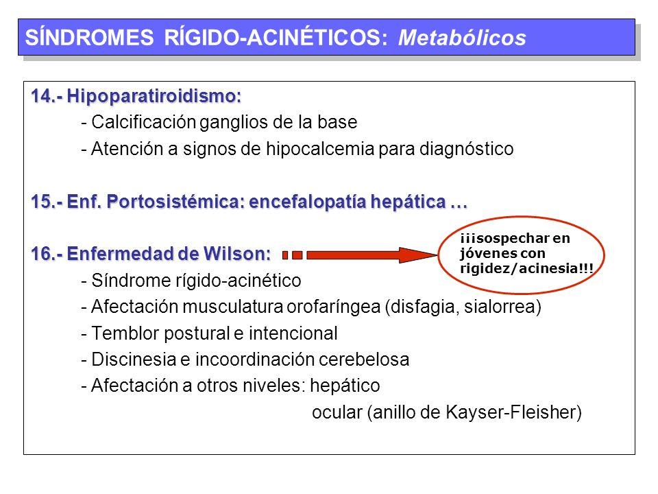 SÍNDROMES RÍGIDO-ACINÉTICOS: Metabólicos