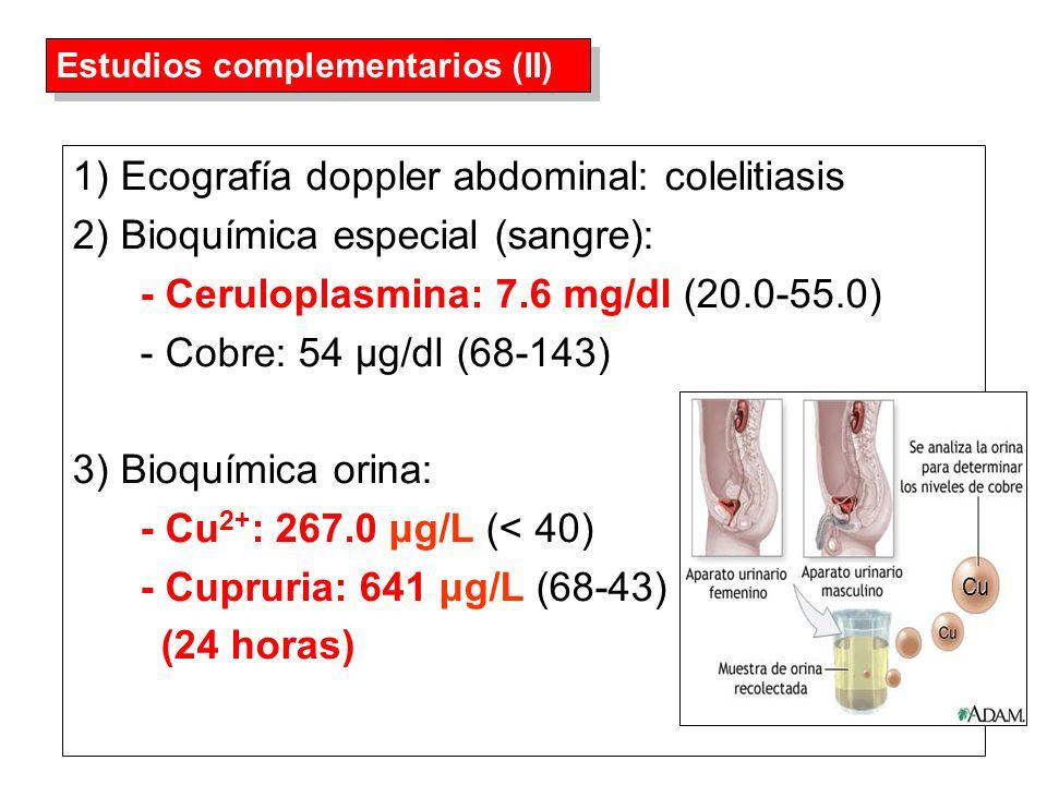 1) Ecografía doppler abdominal: colelitiasis