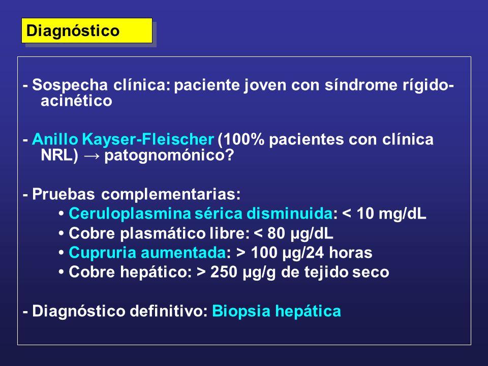 Diagnóstico- Sospecha clínica: paciente joven con síndrome rígido-acinético.