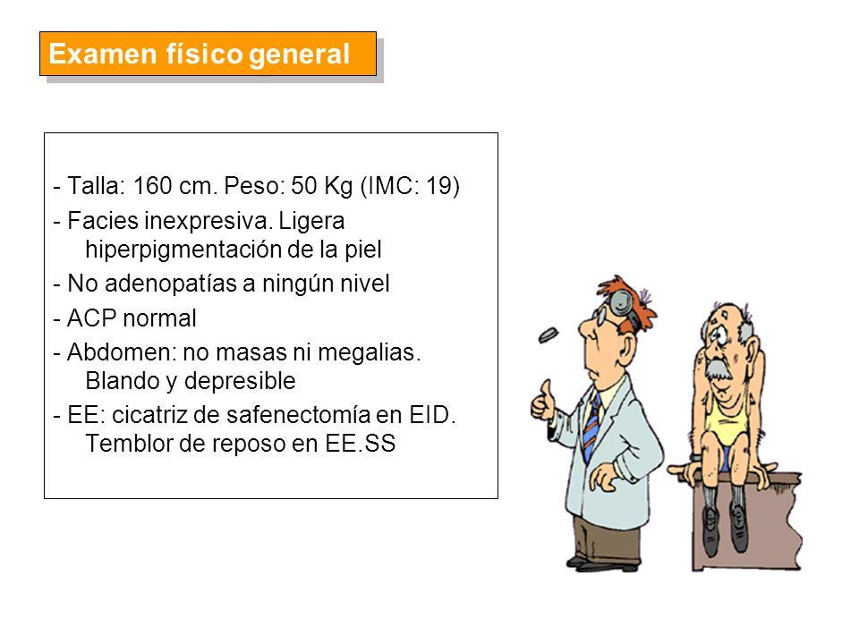 Examen físico general - Talla: 160 cm. Peso: 50 Kg (IMC: 19)