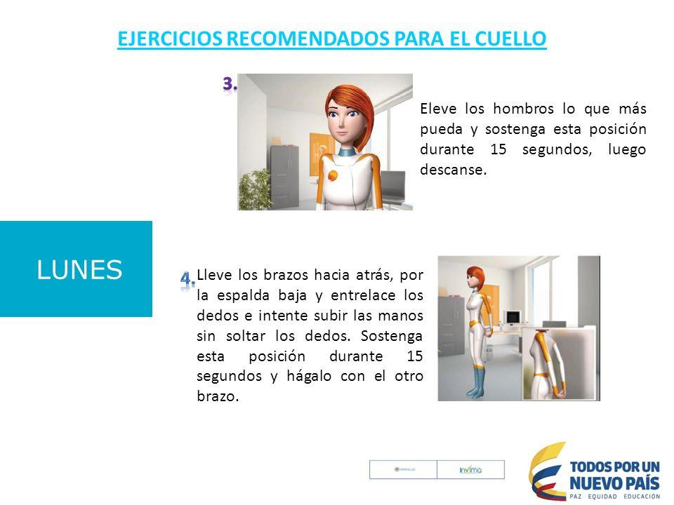 LUNES EJERCICIOS RECOMENDADOS PARA EL CUELLO 3. 4.