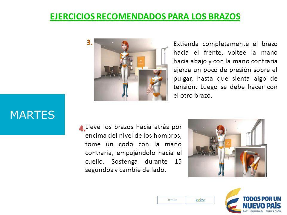 MARTES EJERCICIOS RECOMENDADOS PARA LOS BRAZOS 3. 4.