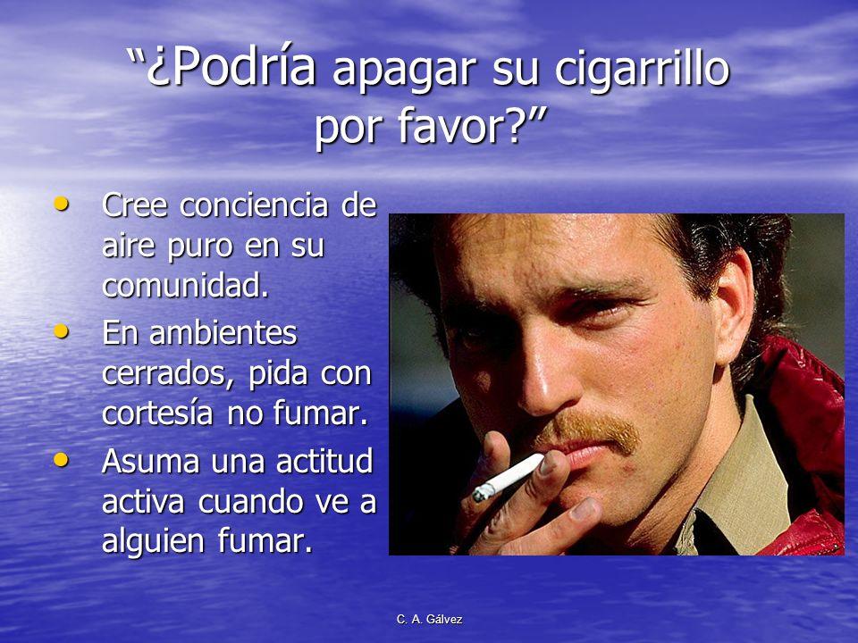 ¿Podría apagar su cigarrillo por favor