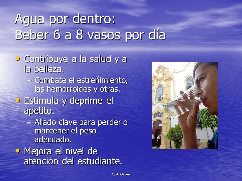 Agua por dentro: Beber 6 a 8 vasos por día