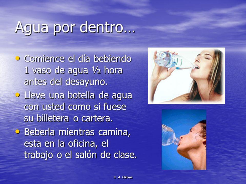 Agua por dentro…Comience el día bebiendo 1 vaso de agua ½ hora antes del desayuno.