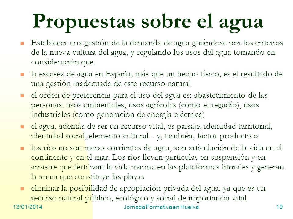 Propuestas sobre el agua