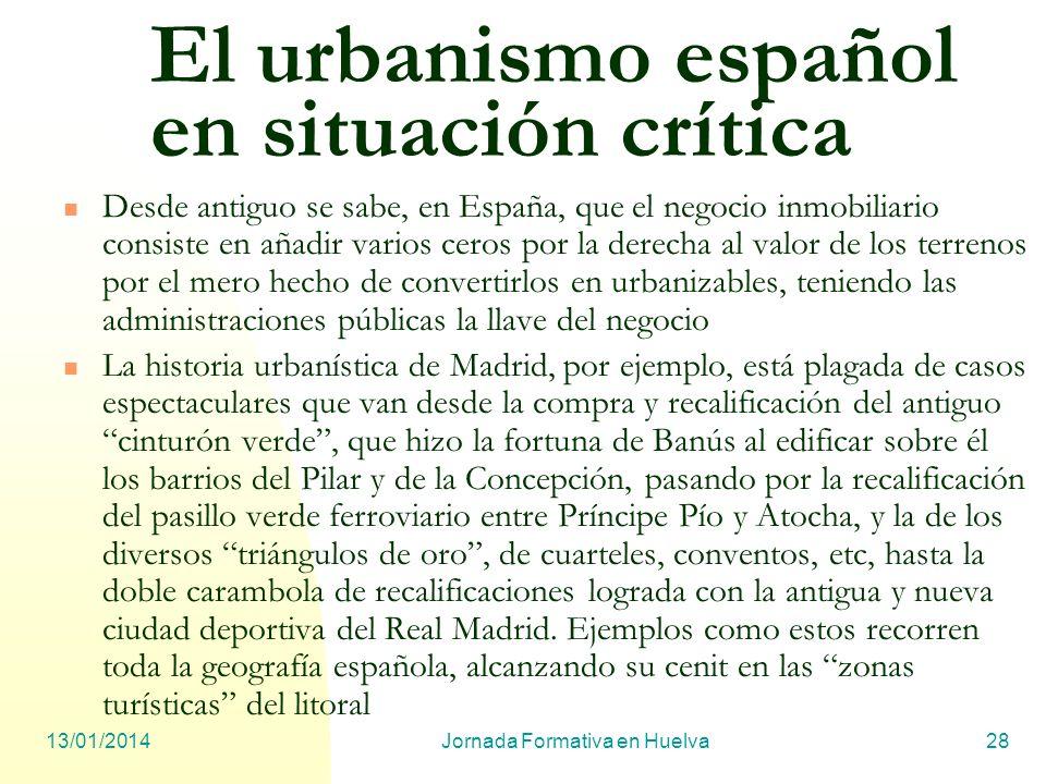 El urbanismo español en situación crítica