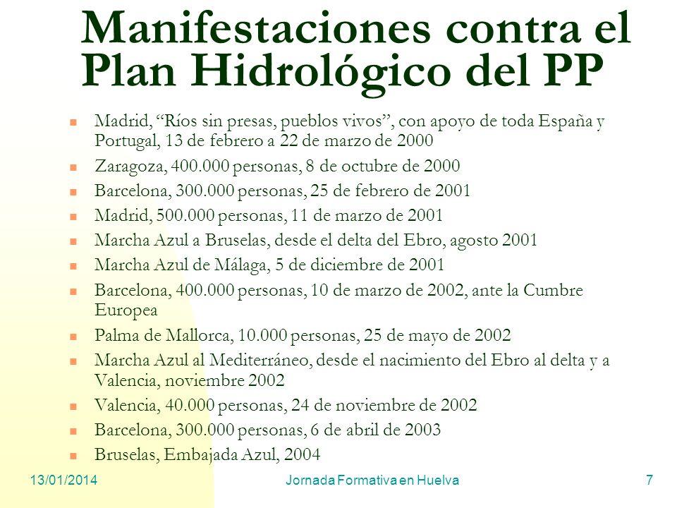Manifestaciones contra el Plan Hidrológico del PP