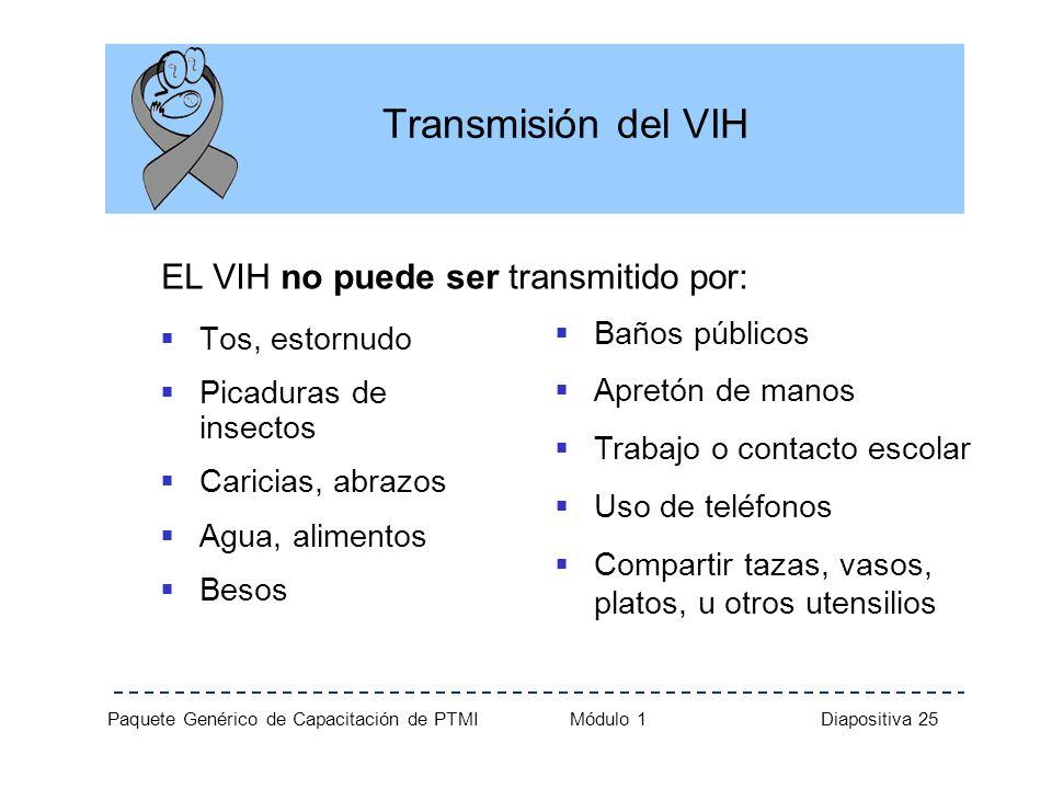 Transmisión del VIH EL VIH no puede ser transmitido por: