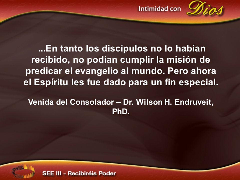 Venida del Consolador – Dr. Wilson H. Endruveit, PhD.