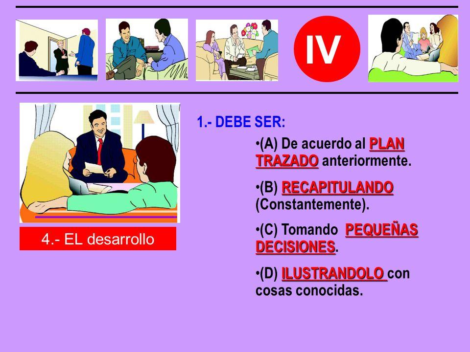 IV 1.- DEBE SER: (A) De acuerdo al PLAN TRAZADO anteriormente.