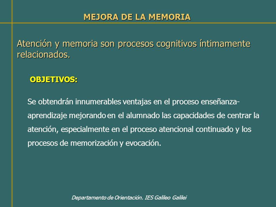 Atención y memoria son procesos cognitivos íntimamente relacionados.