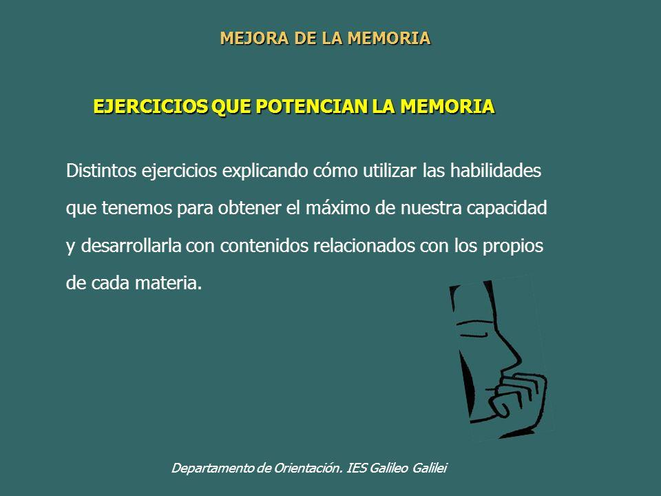 EJERCICIOS QUE POTENCIAN LA MEMORIA