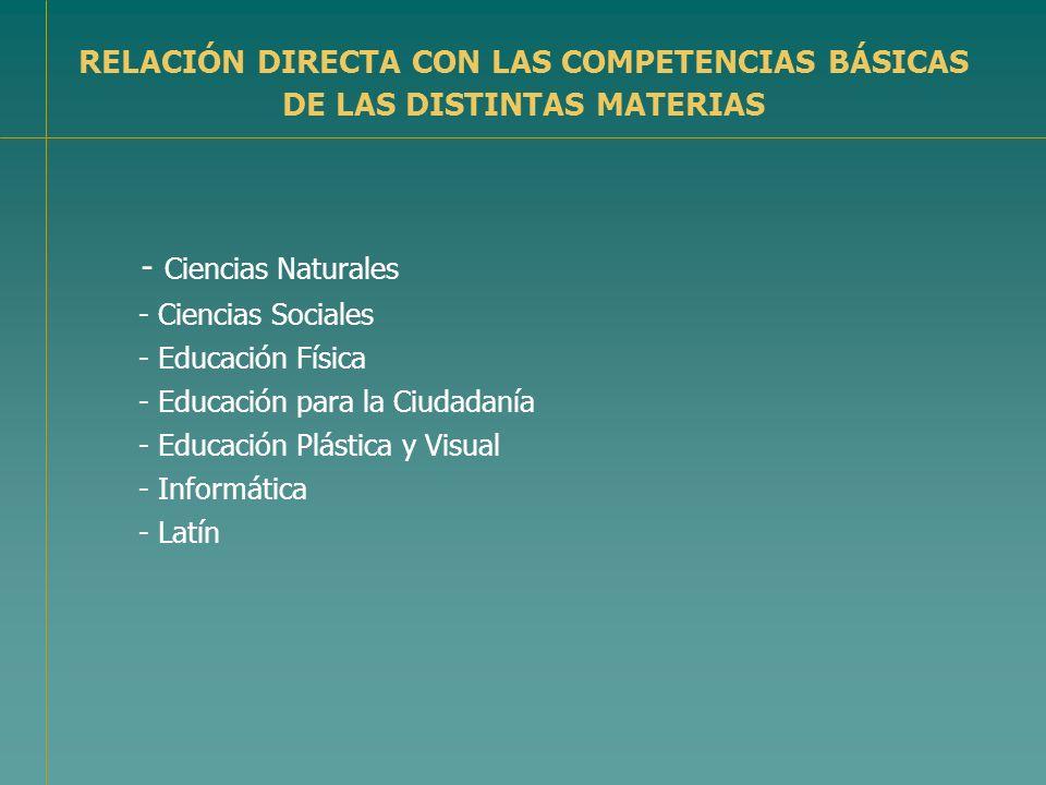 RELACIÓN DIRECTA CON LAS COMPETENCIAS BÁSICAS DE LAS DISTINTAS MATERIAS