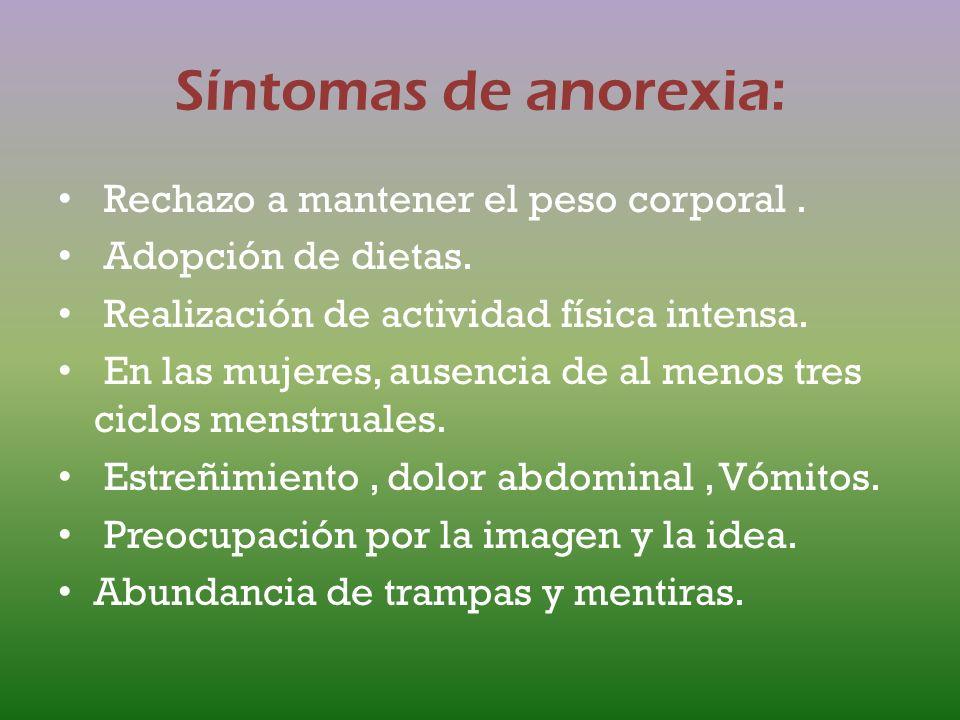 Síntomas de anorexia: Rechazo a mantener el peso corporal .