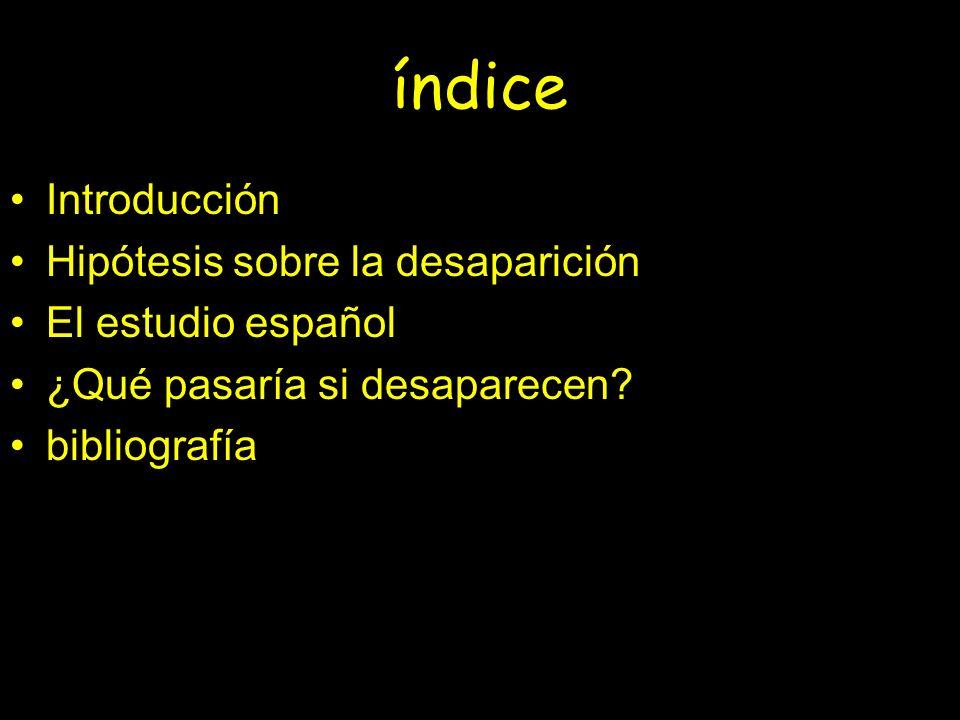 índice Introducción Hipótesis sobre la desaparición El estudio español