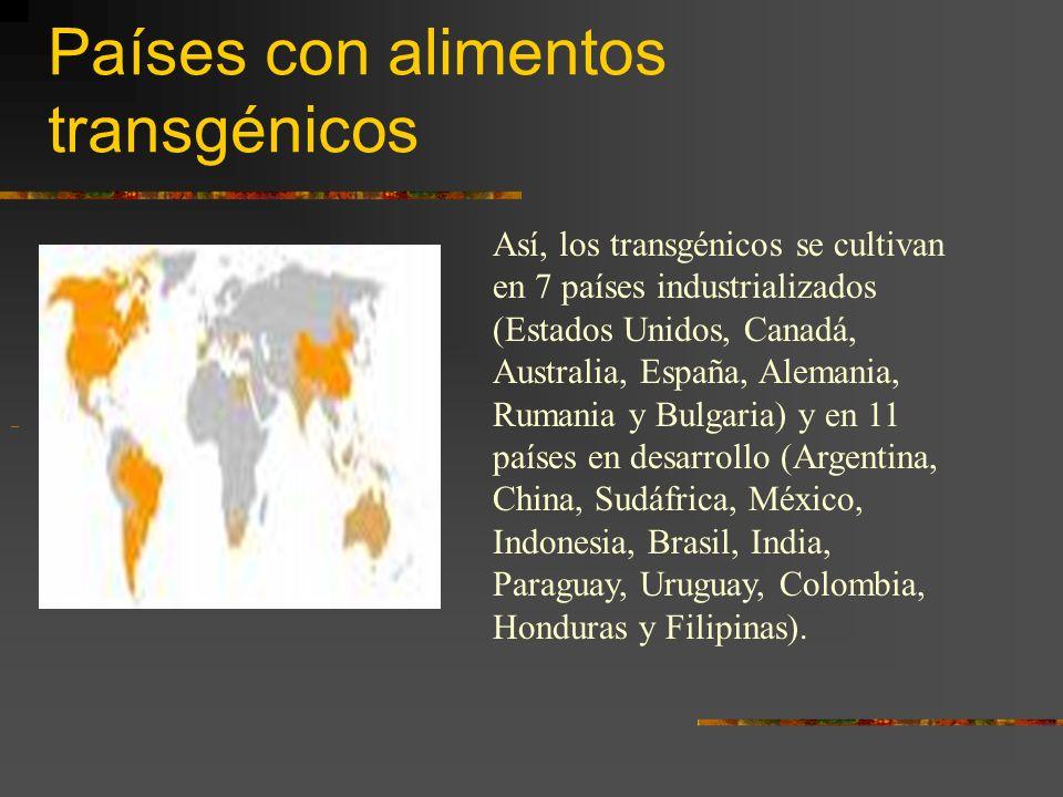 Países con alimentos transgénicos