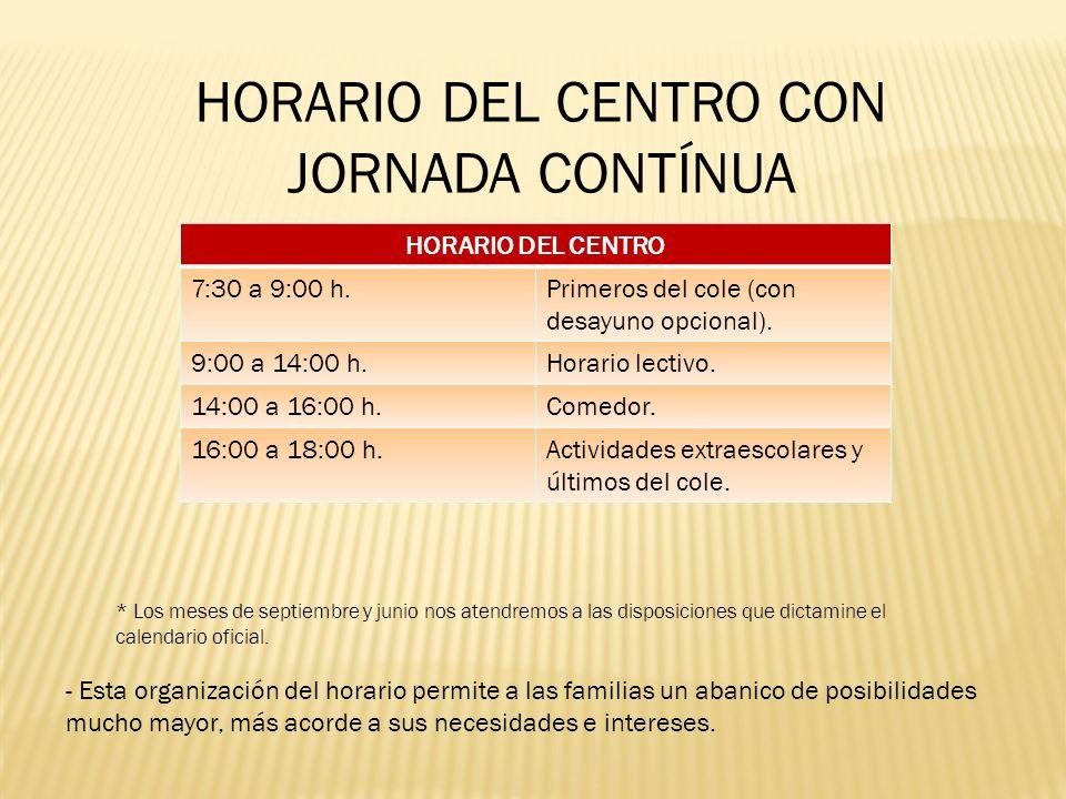 HORARIO DEL CENTRO CON JORNADA CONTÍNUA