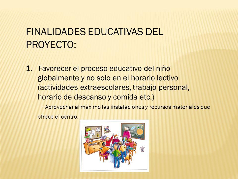 FINALIDADES EDUCATIVAS DEL PROYECTO: