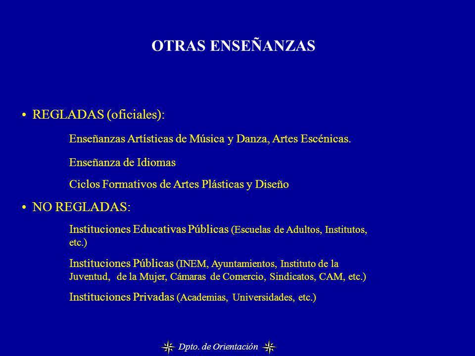 OTRAS ENSEÑANZAS REGLADAS (oficiales):