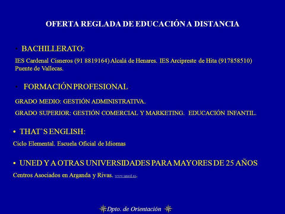 OFERTA REGLADA DE EDUCACIÓN A DISTANCIA