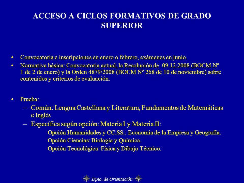ACCESO A CICLOS FORMATIVOS DE GRADO SUPERIOR