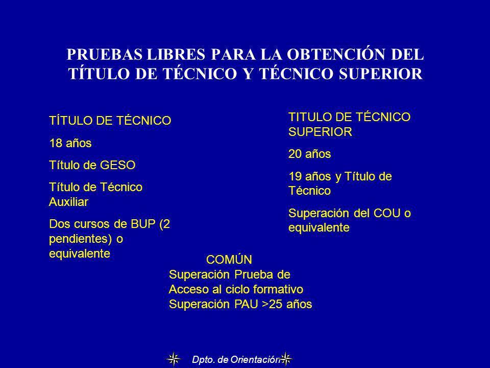 PRUEBAS LIBRES PARA LA OBTENCIÓN DEL TÍTULO DE TÉCNICO Y TÉCNICO SUPERIOR