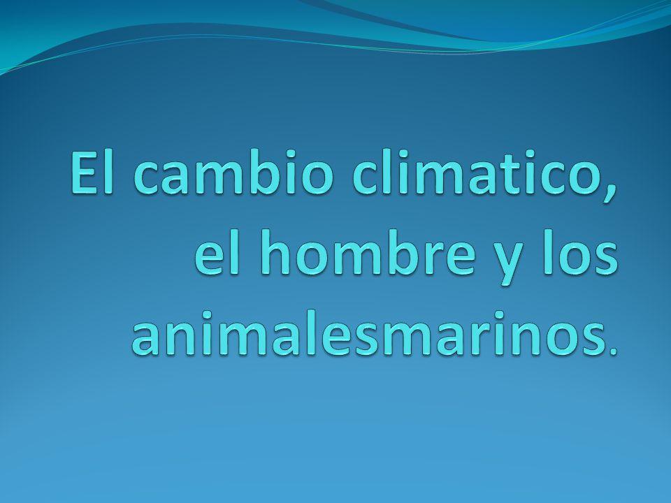 El cambio climatico, el hombre y los animalesmarinos.